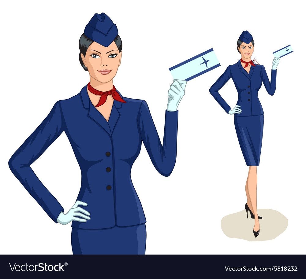 Stewardess with ticket