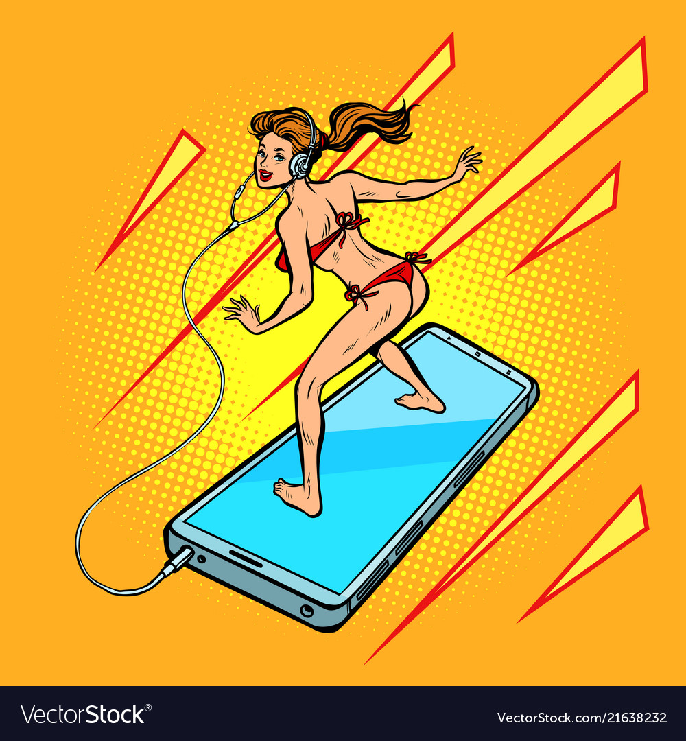 Woman surfing on a smartphone vector