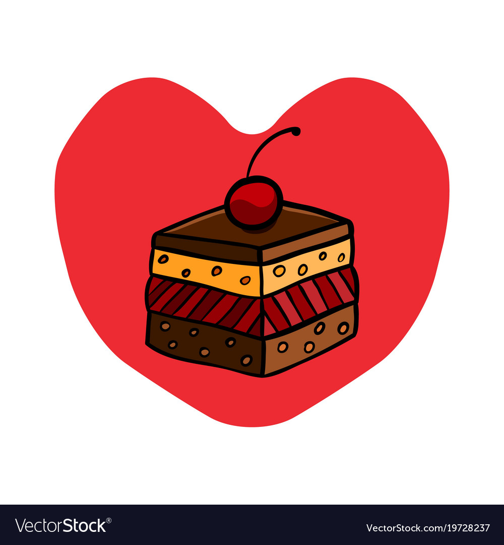 Colorful cute cherry cake on red heart background