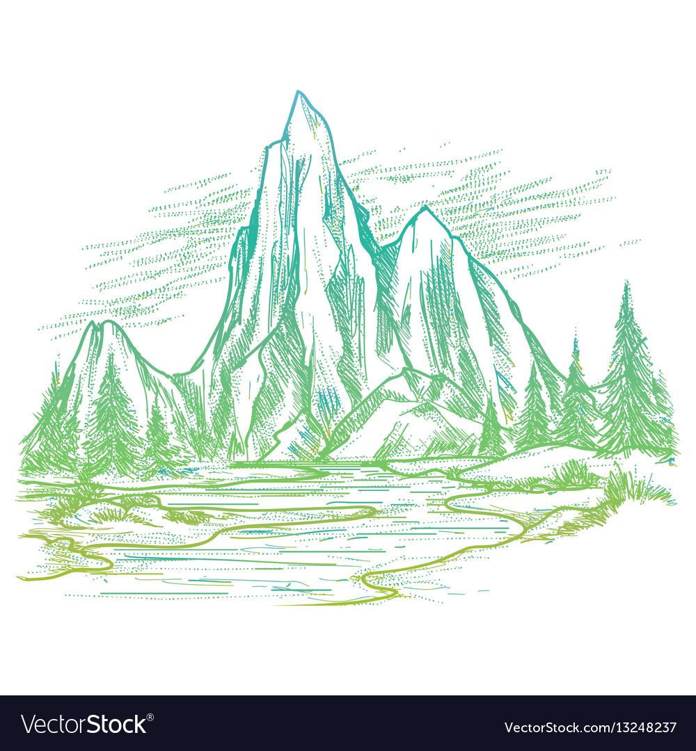 Colorful nature landscape sketch vector image