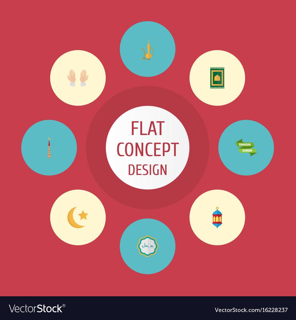 Flat icons prayer carpet islamic lamp pitcher