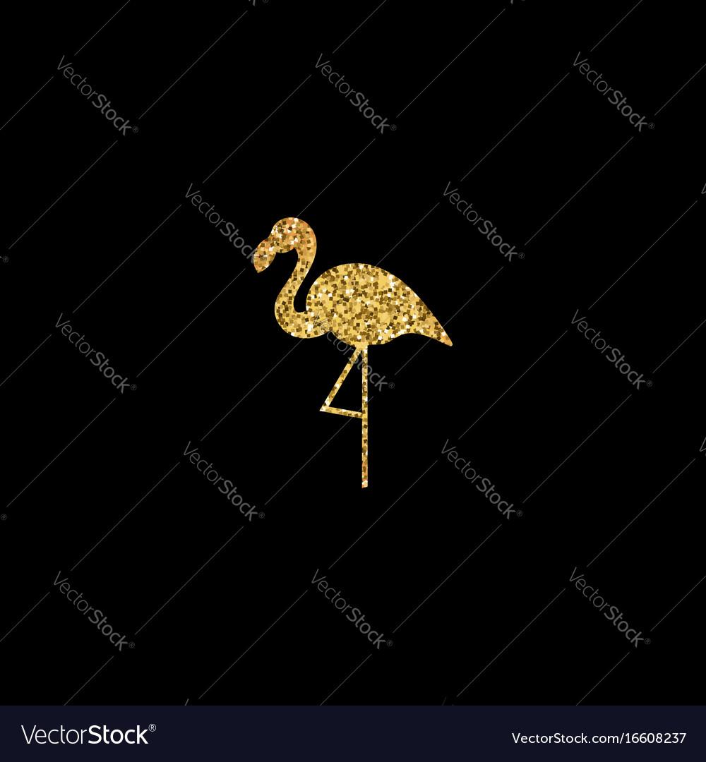 Golden flamingo silhouette
