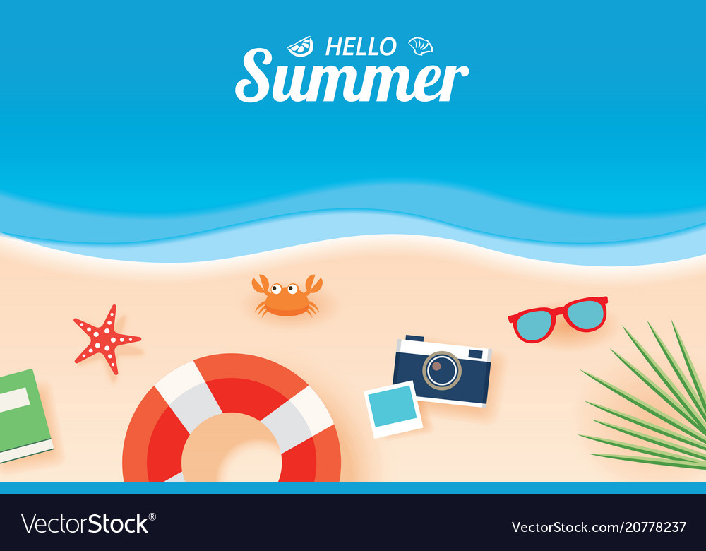 d284351b51f Hello summer card banner with vacation beach Vector Image