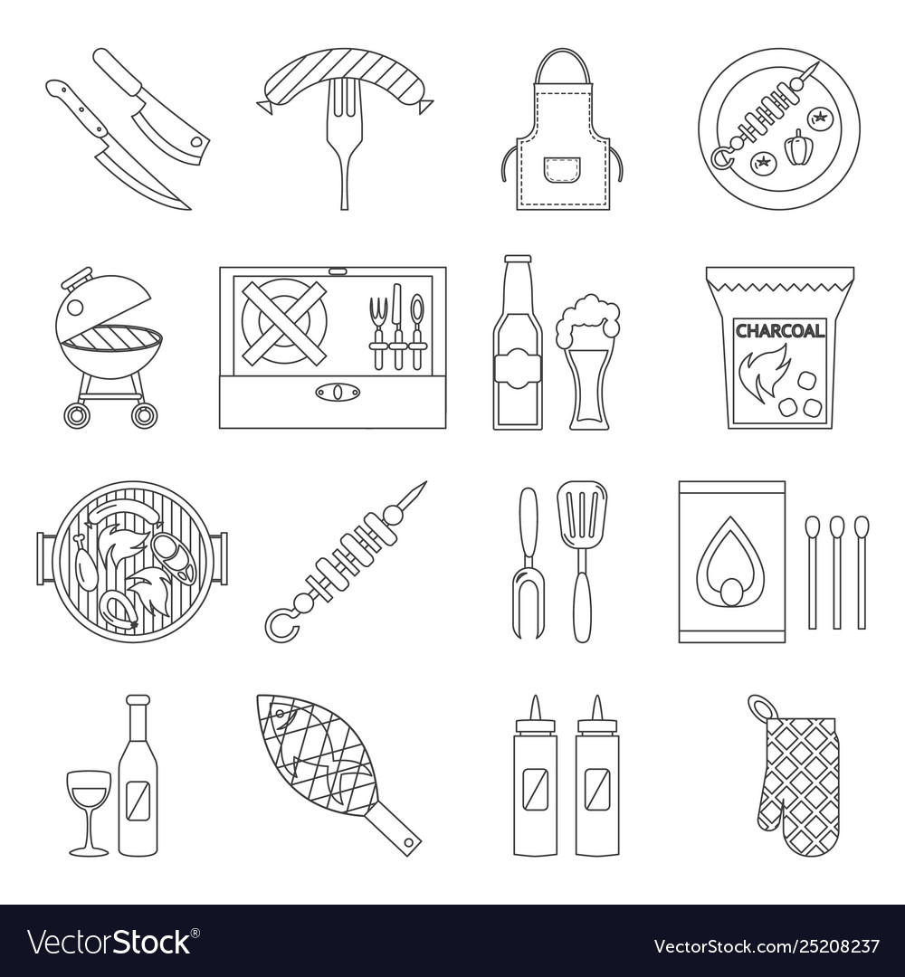 Lineart barbecue grill cooking meat steak picnic