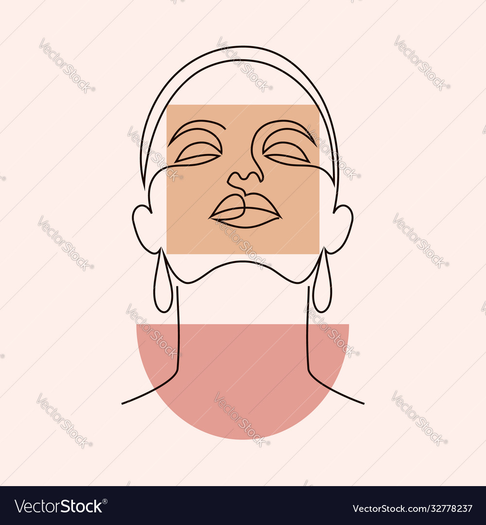 Minimal woman face and geometric shape