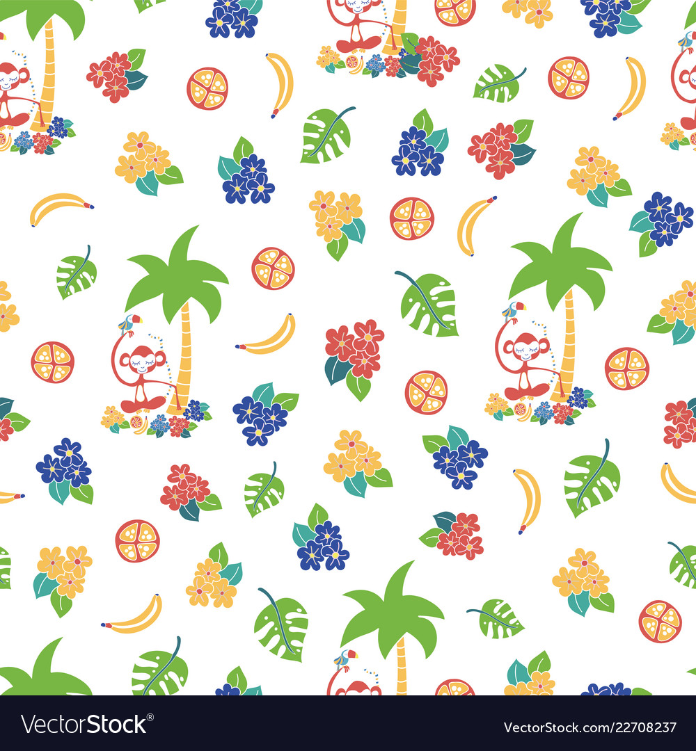 Monkey toucan tropical background pattern