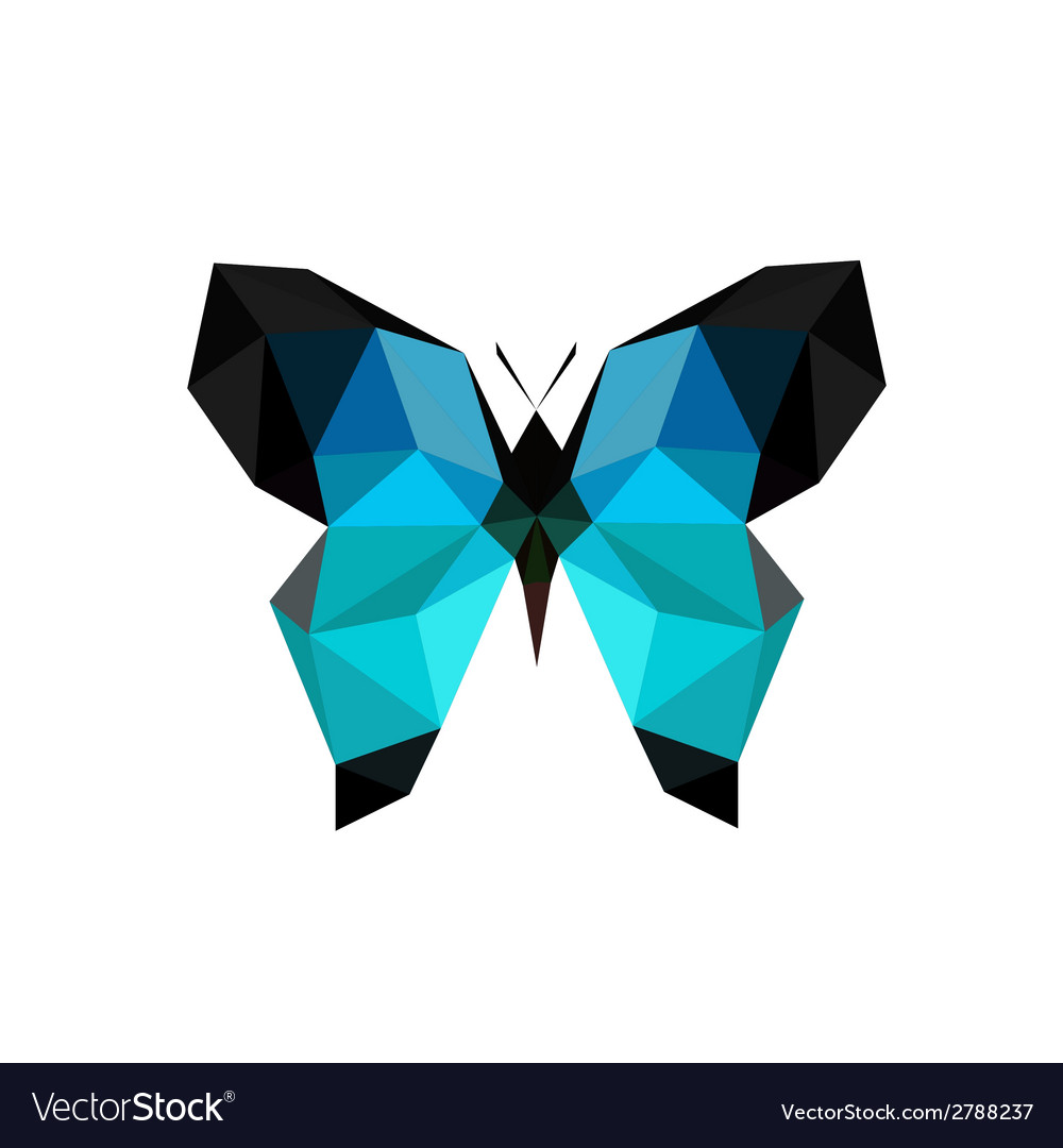origami blue butterfly royalty free vector image