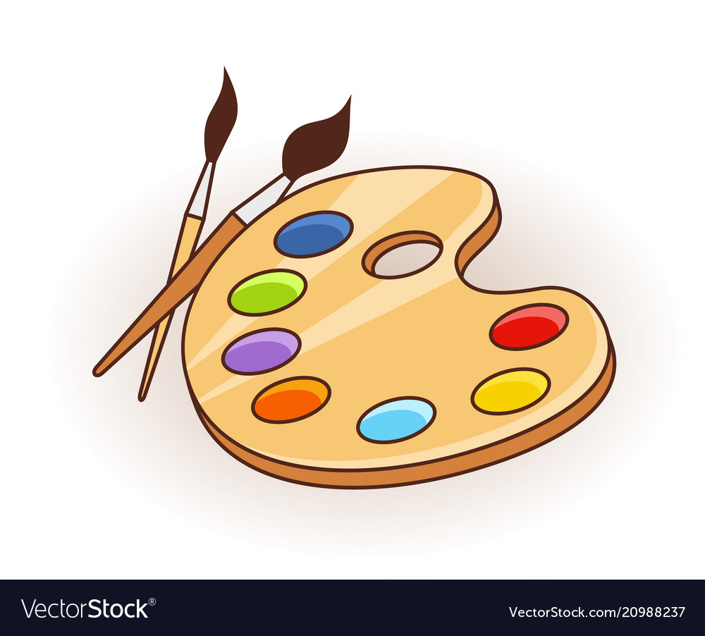 Paint brush with palette icon in flat style