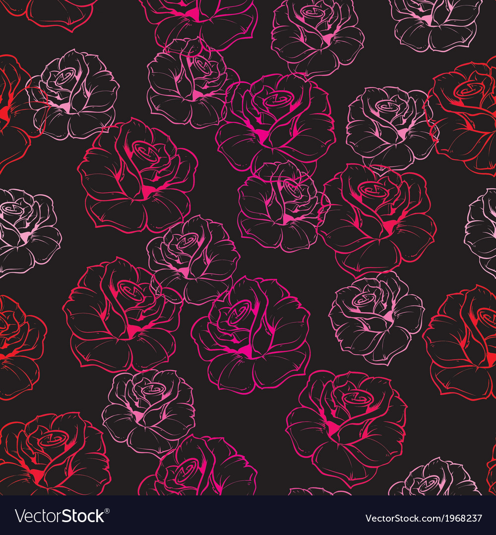 Seamless dark floral pattern with pink red roses