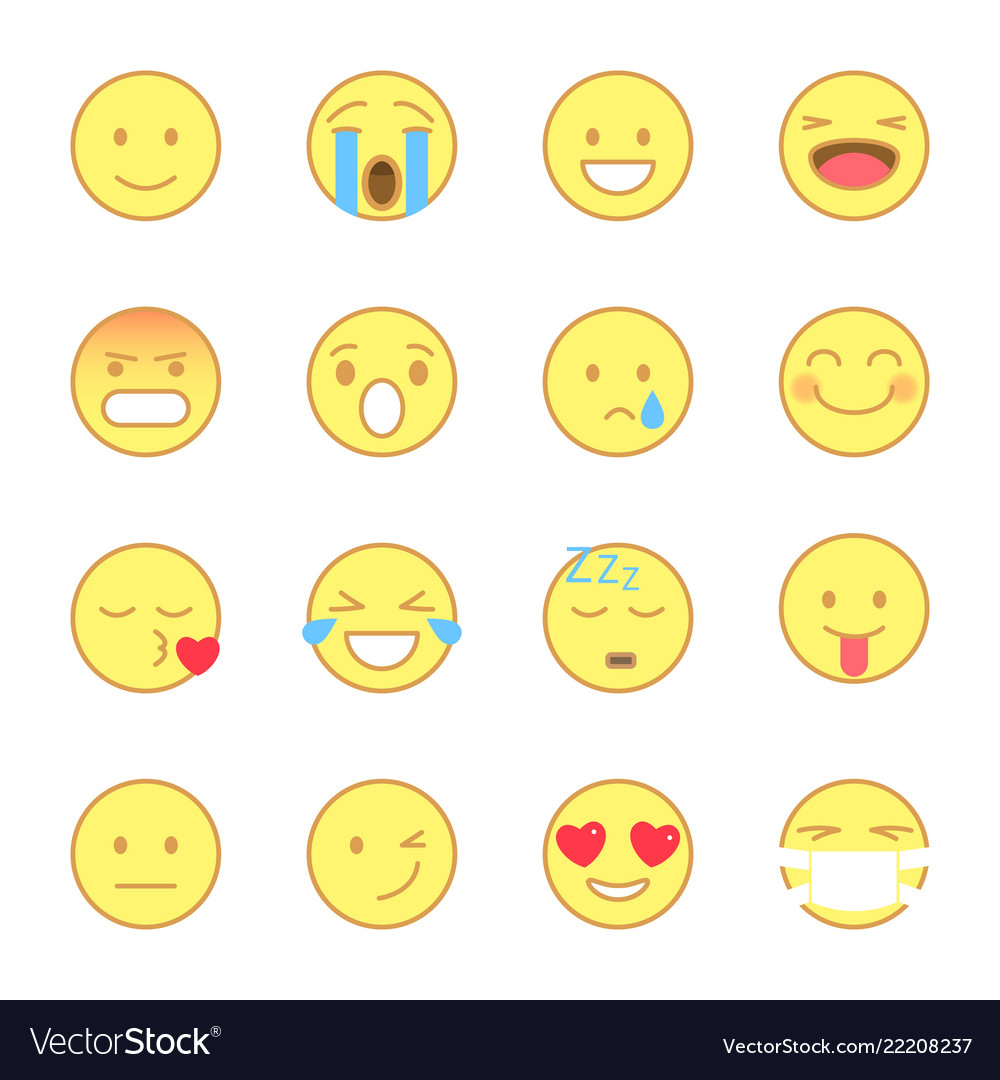 Smiley flat icons set emoji and emoticons line