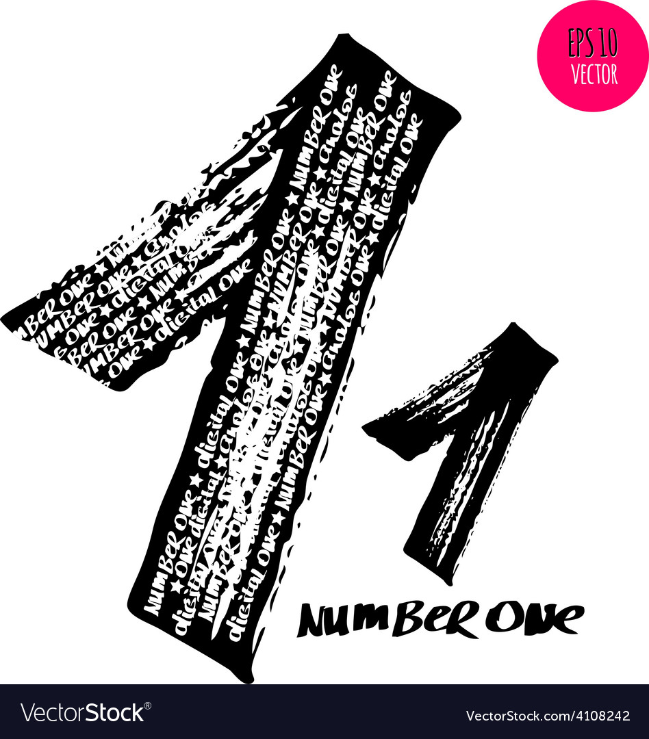Alphabet numbers digital style hand-drawn doodle