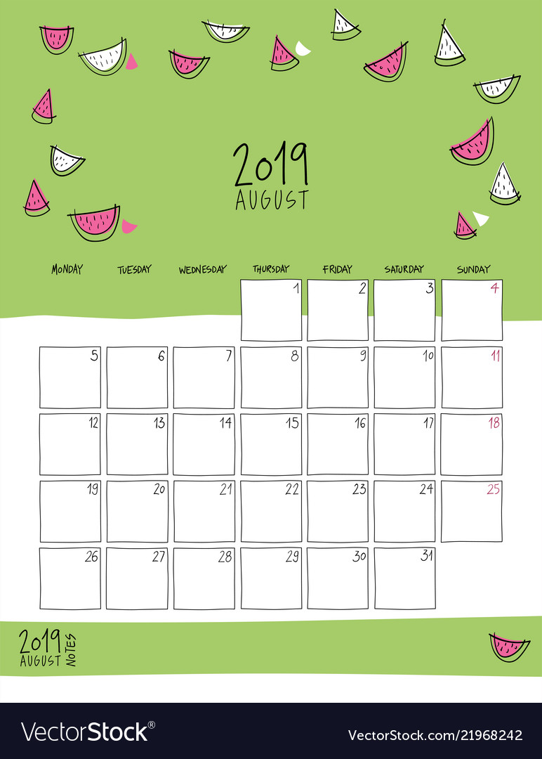 August 2019 wall calendar doodle style