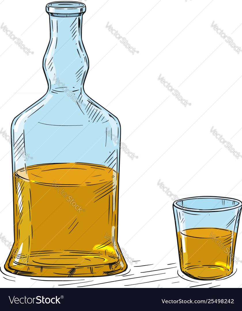 Cartoon drawing whiskey or hard liquor bottle