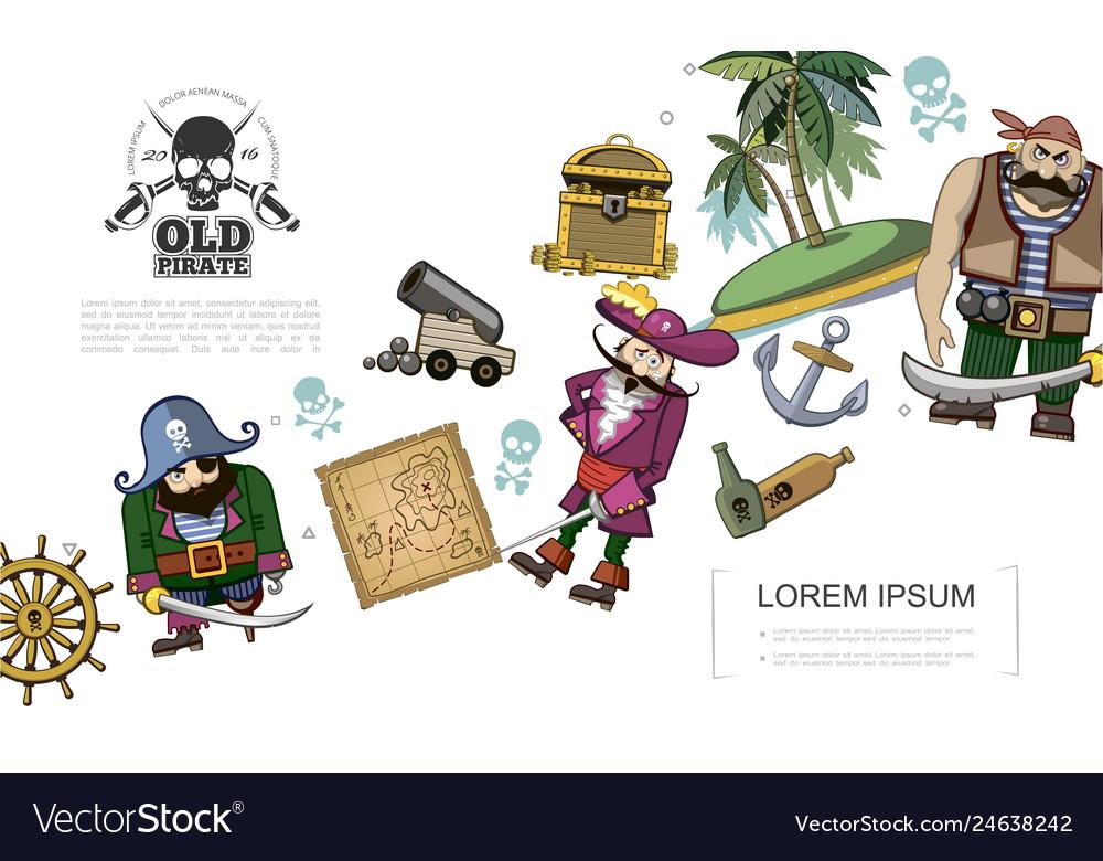 Cartoon pirates concept