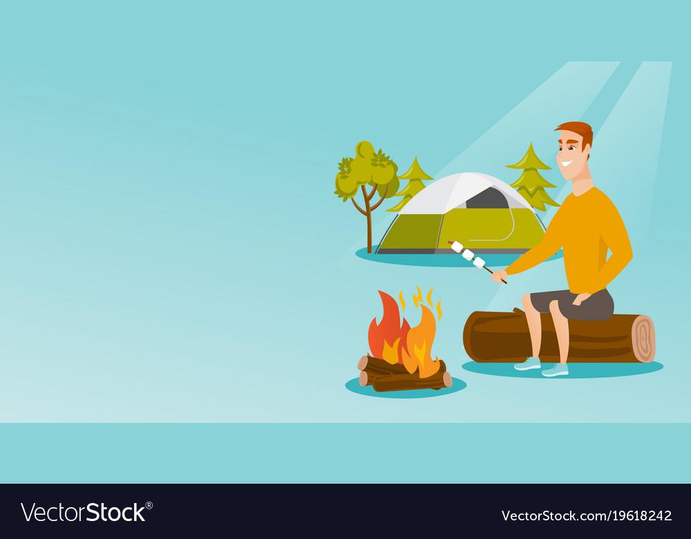Caucasian Man Roasting Marshmallow Over Campfire Vector Image