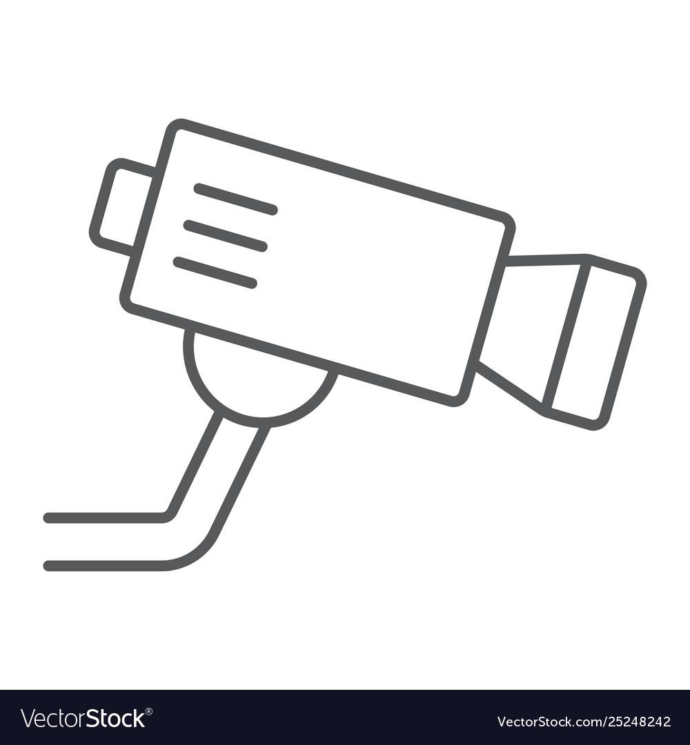 Cctv camera thin line icon privacy and video