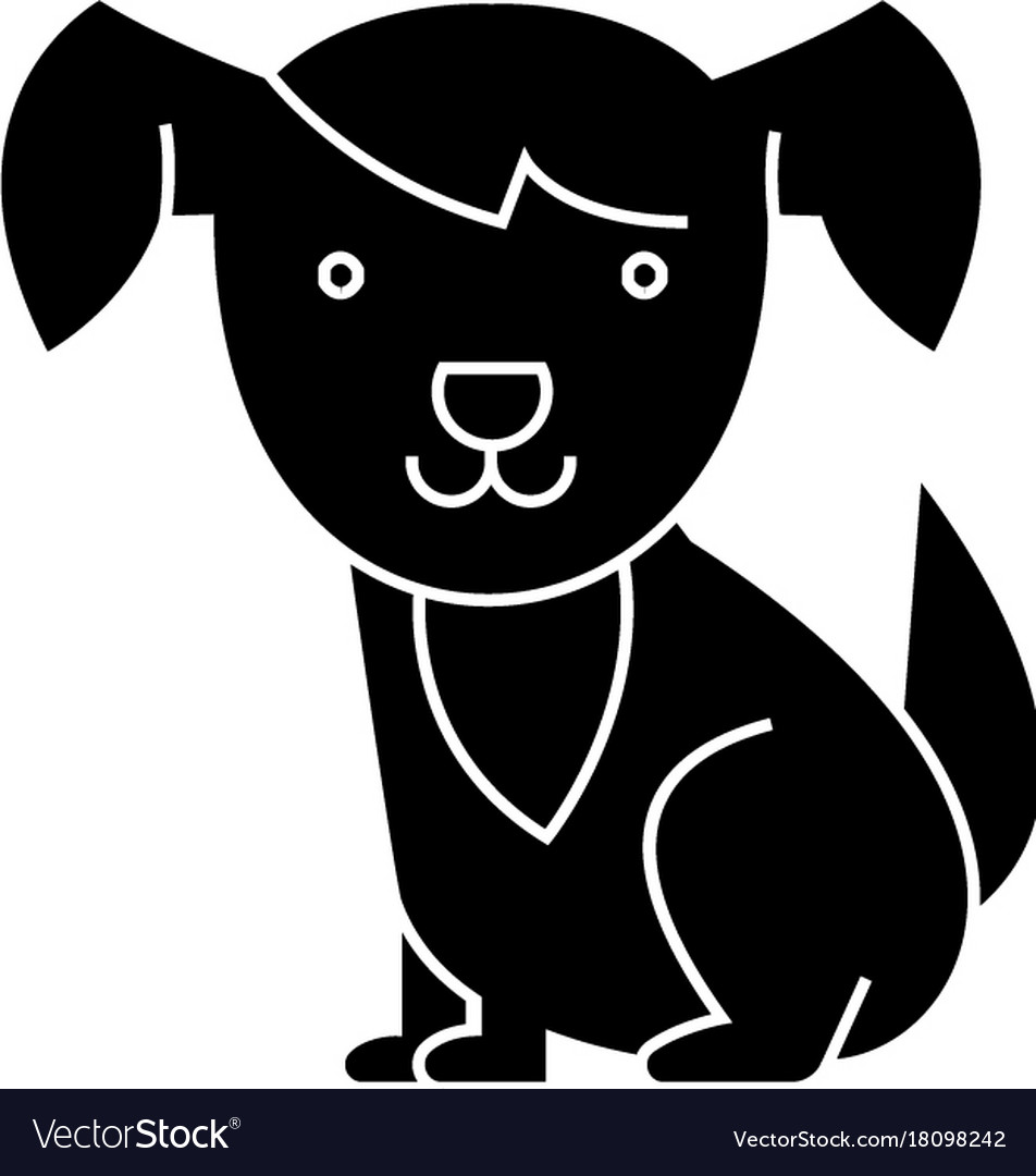 Dog cute icon black sign on
