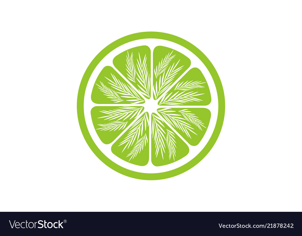 Green lemon slices logo design inspiration