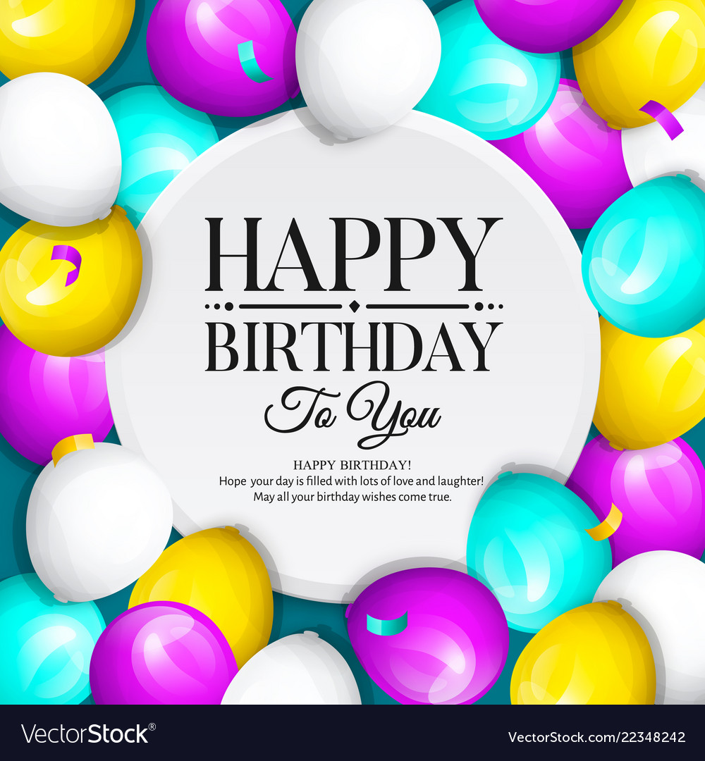 2018search Volume Jun 2018trendcpc Usdcompetition Happy Birthday Greeting Card Bunch Of Balloons Vector Image