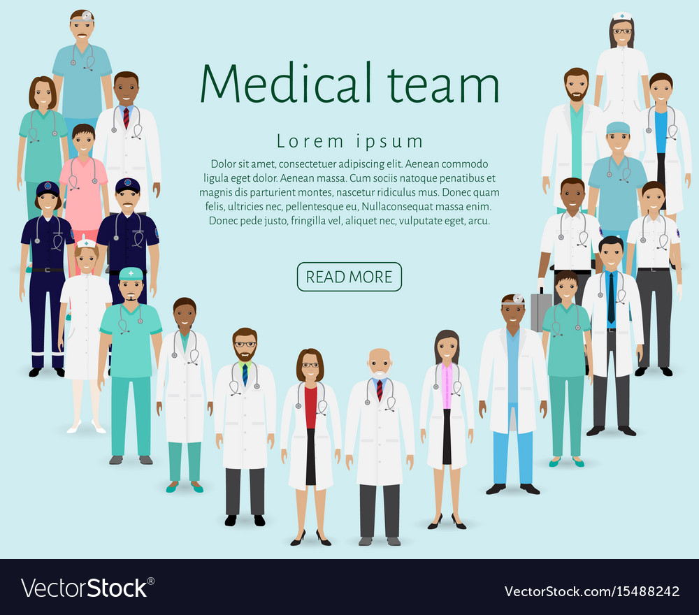 Medical team group doctors nurses paramedics vector image
