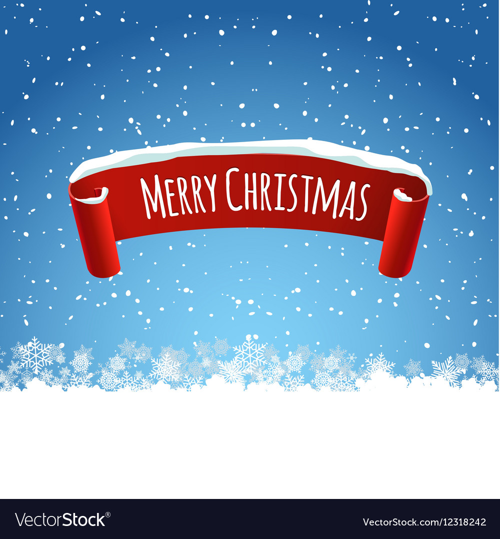 Merry Christmas background with red realistic vector image