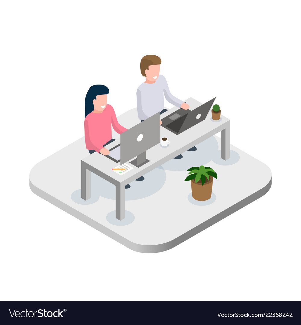 Office workers at work place concept coworking