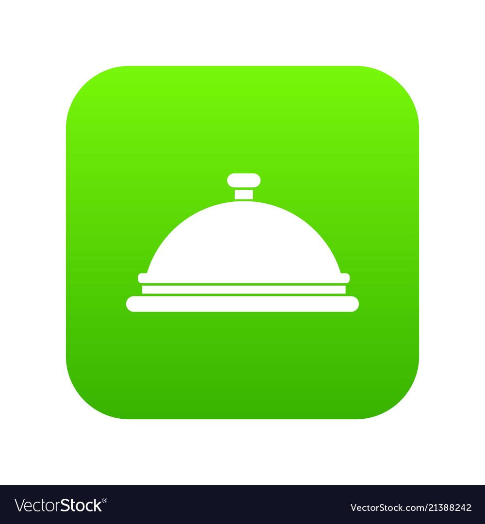Restaurant cloche icon digital green