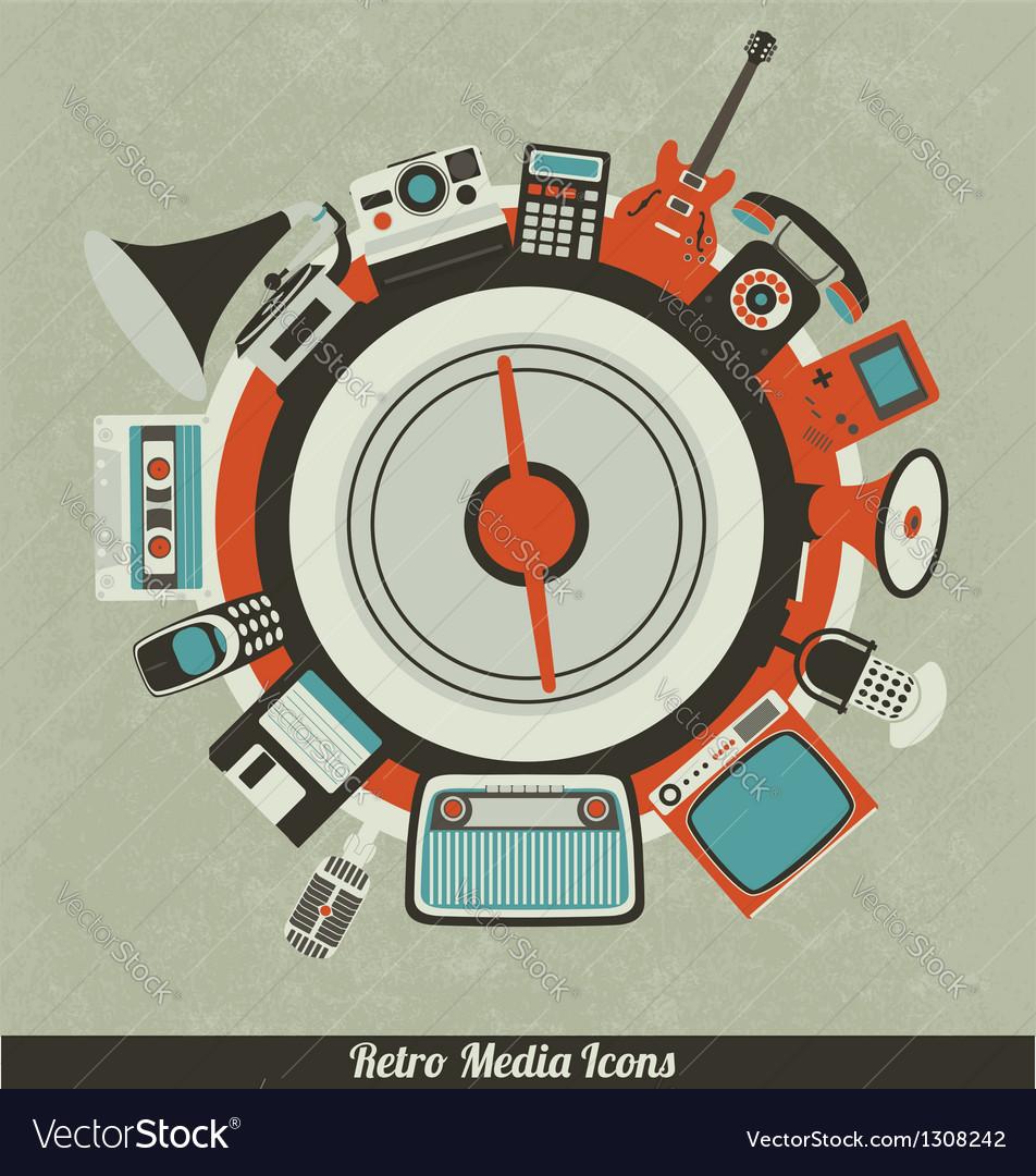 Retro Media Icons vector image
