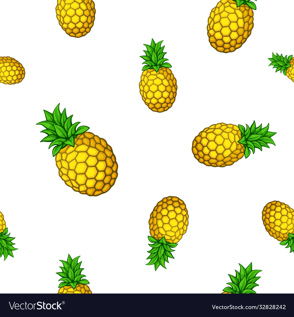 Seamless pattern with big and small pineapples