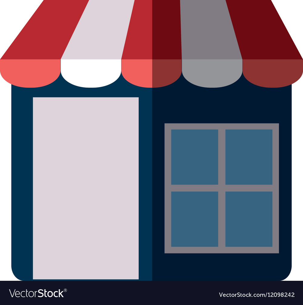Shopping store market online color shadow vector image