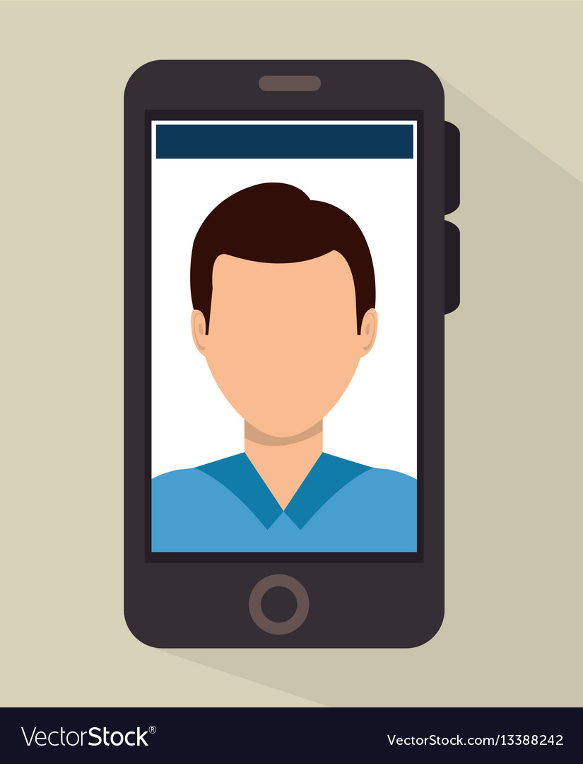 Smartphone with person avatar