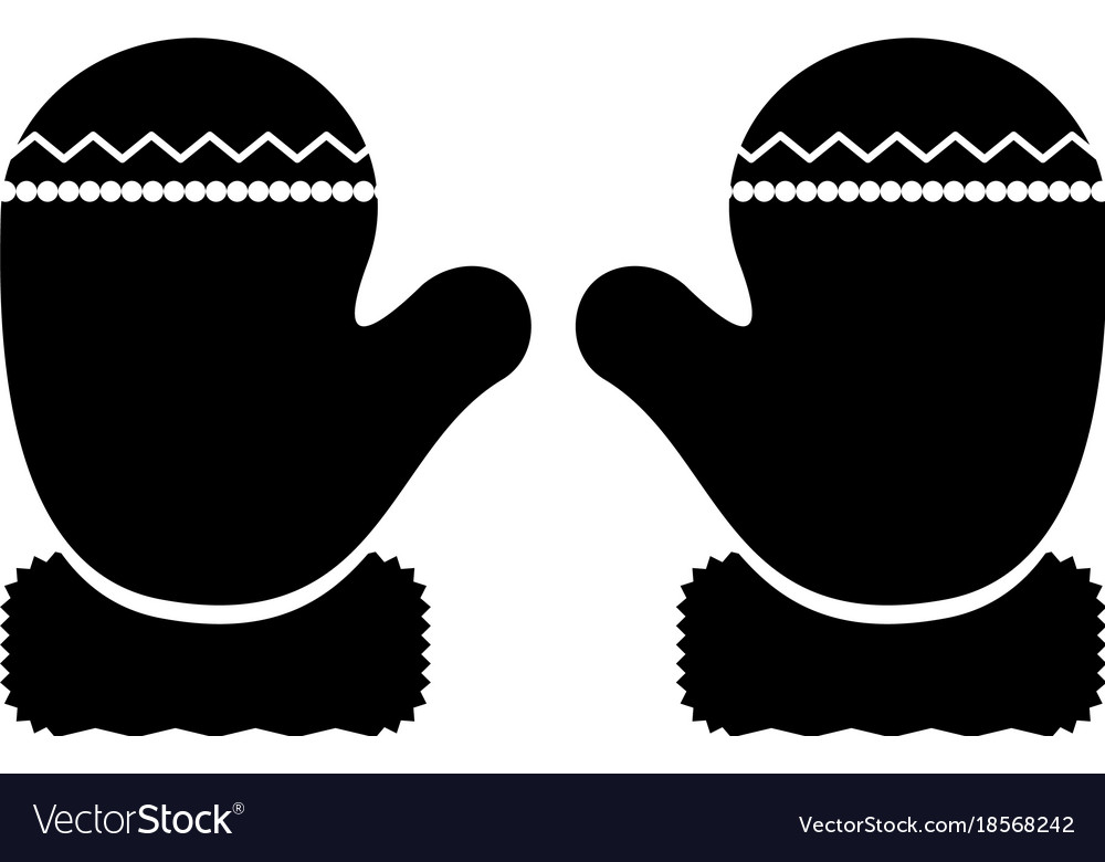 winter gloves silhouette royalty free vector image