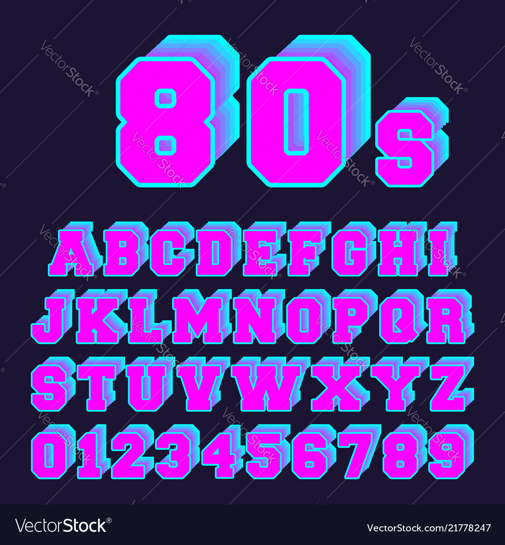 80s alphabet font design set of letters and