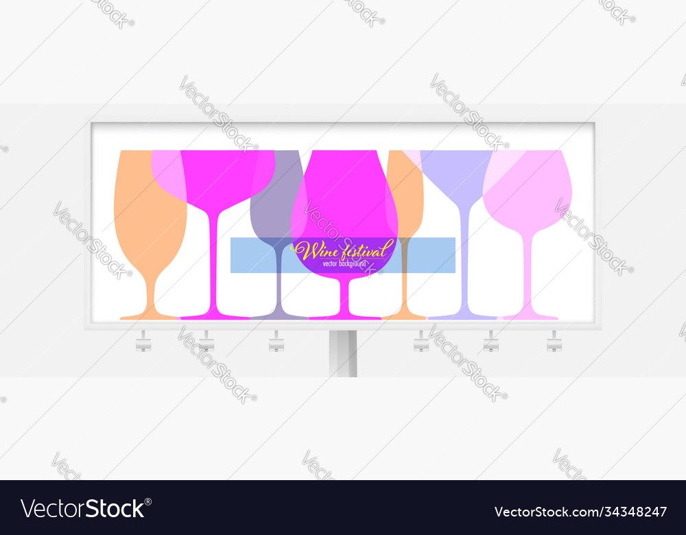 Billboard with different wine glasses outline