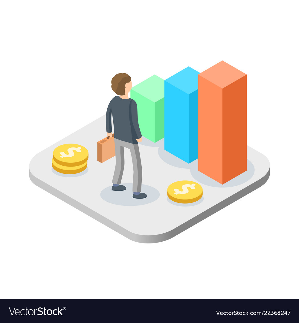 Business man with growing graph isometric manager