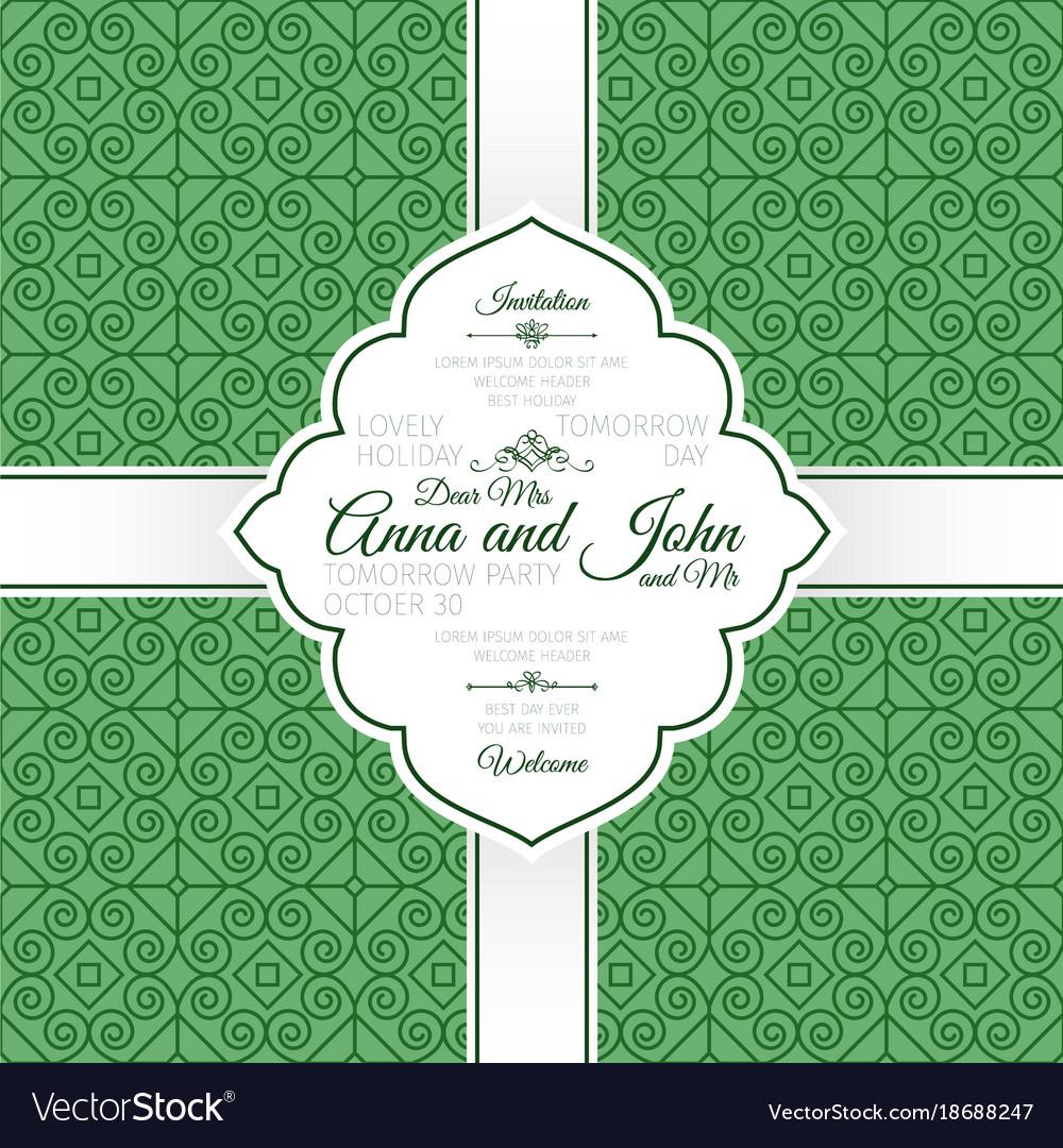Card with green linear swirls pattern