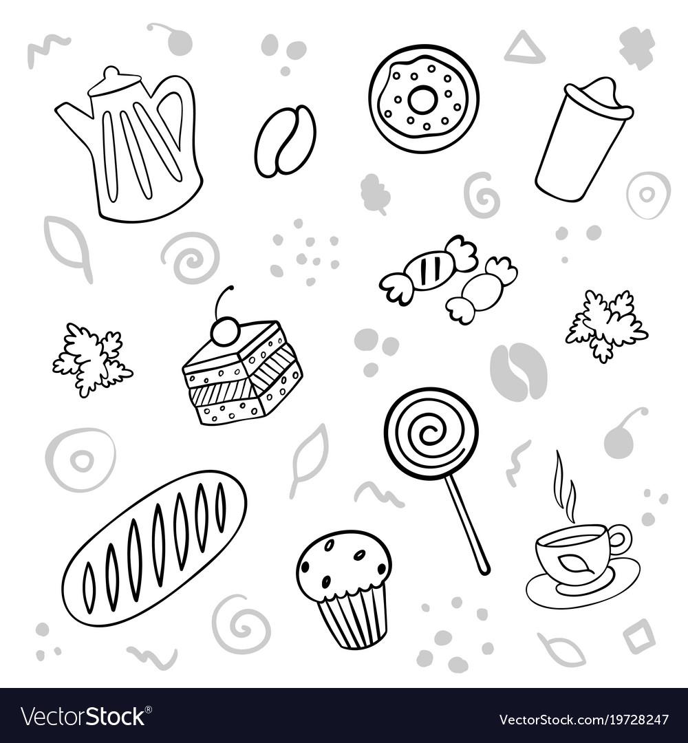 Cartoon cute bakery on white background linear