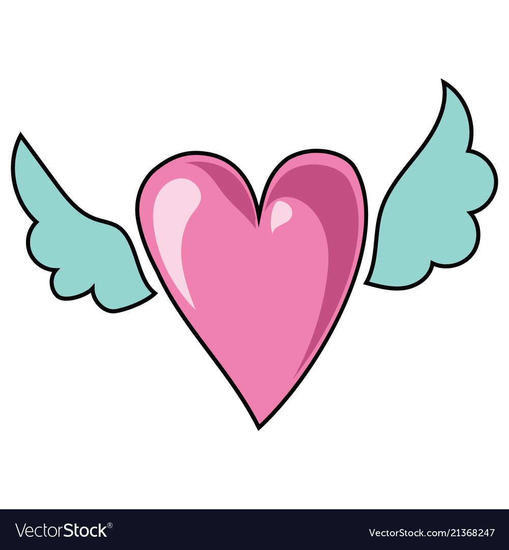 Cartoon heart with wings for