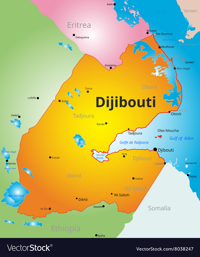 Color map of Djibouti vector image