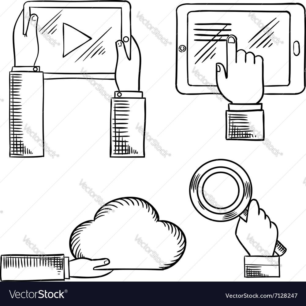 Hands icons with tablets cloud magnifying glass