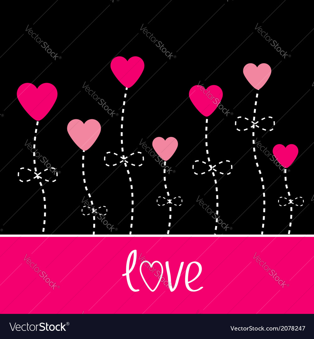 Love card Heart flowers Black and pink