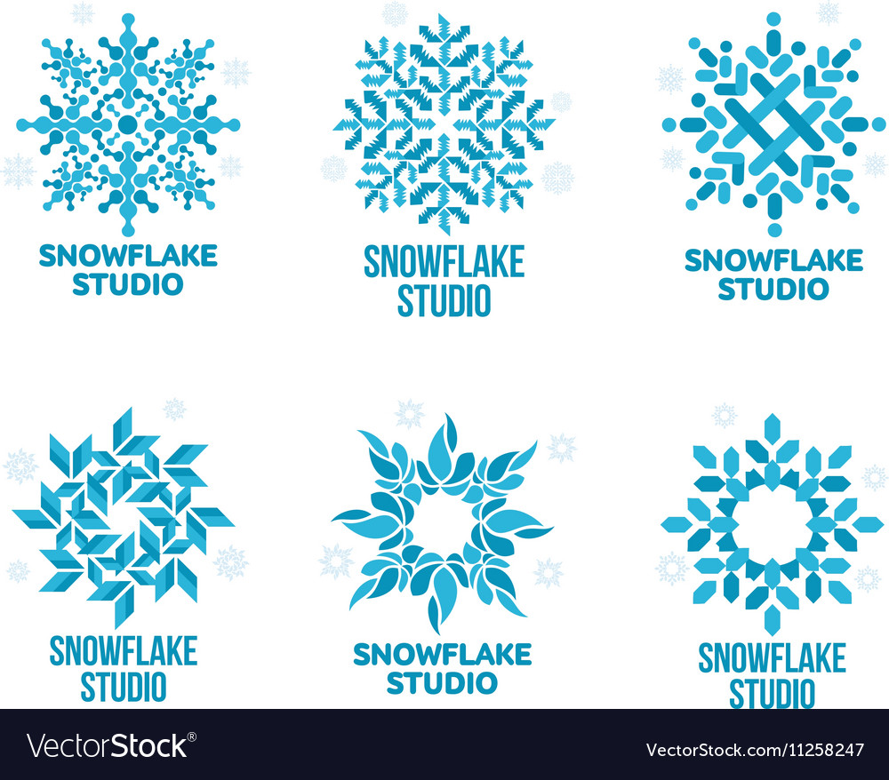 Set of geometrical abstract snowflake logo