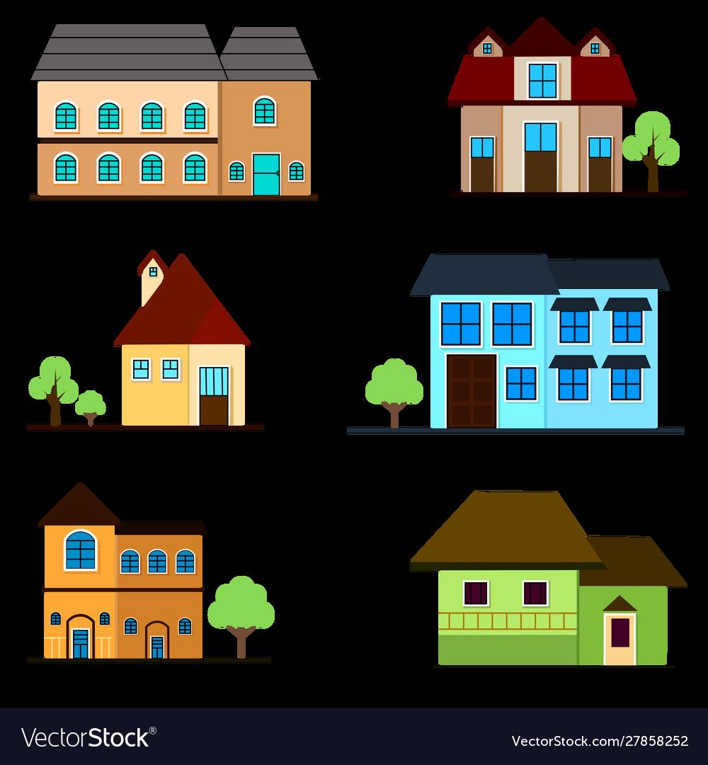 Apartment house set building architecture vector image