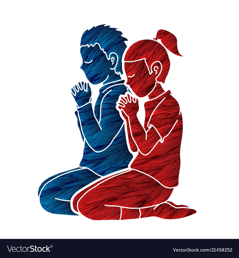 Boy and girl pray together prayer christian