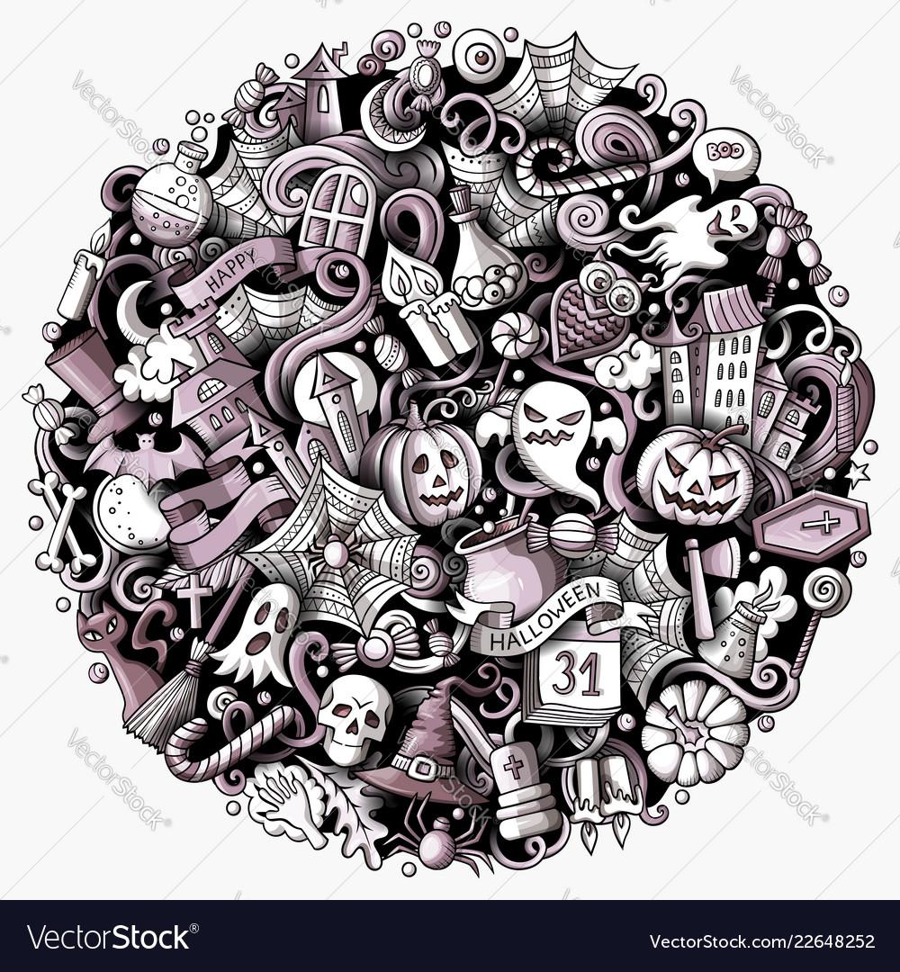 Cartoon doodles happy halloween