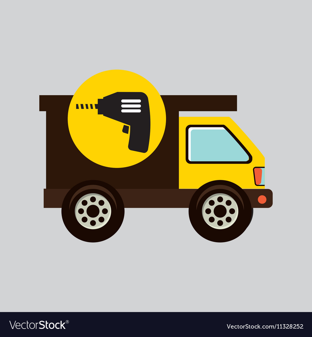 Construction gear icon drill vector image