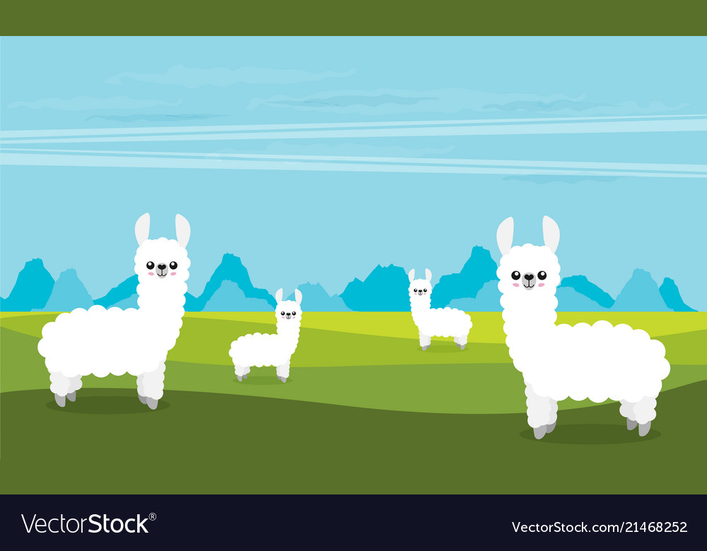 Cute cartoon alpaca flat