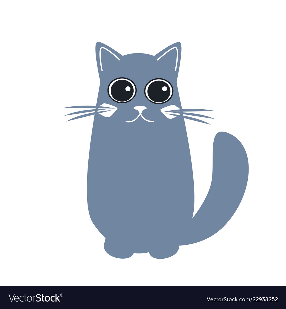 Cute cat in flat style simple cartoon cat icon on