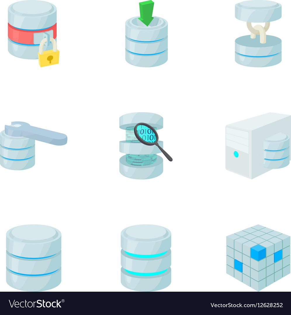 Data icons set cartoon style