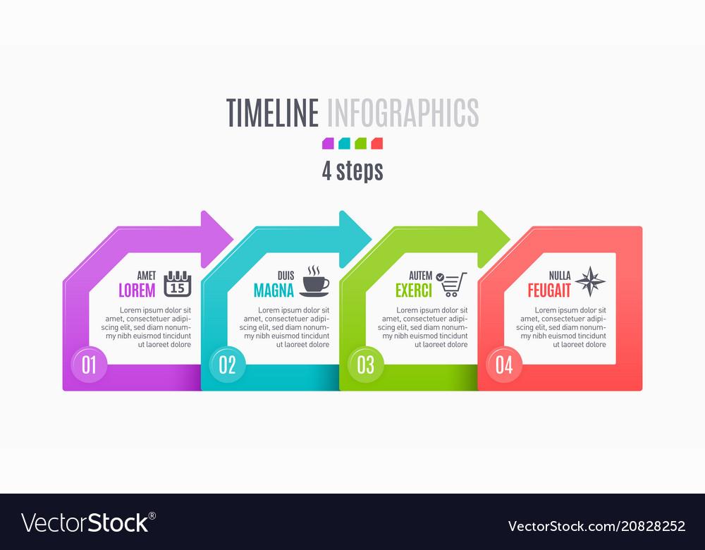 Four steps infographic timeline presentation